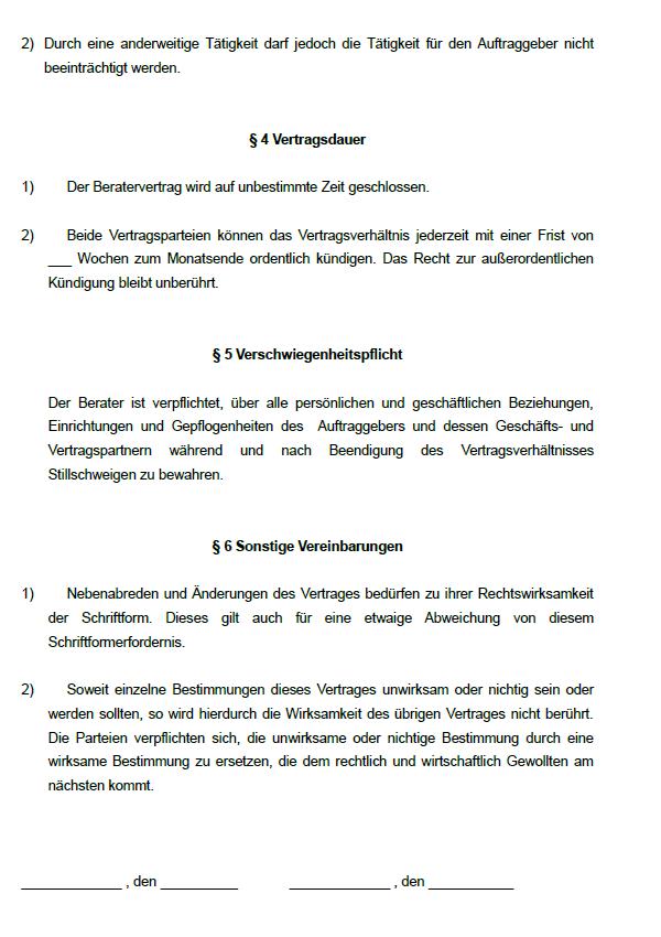 Exemplarische Seite aus dem Beratervertrag