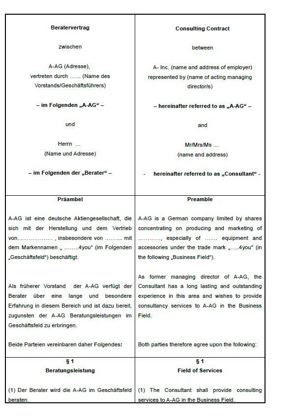 Beratervertrag Einsicht in eine Seite des englischen Vertrags