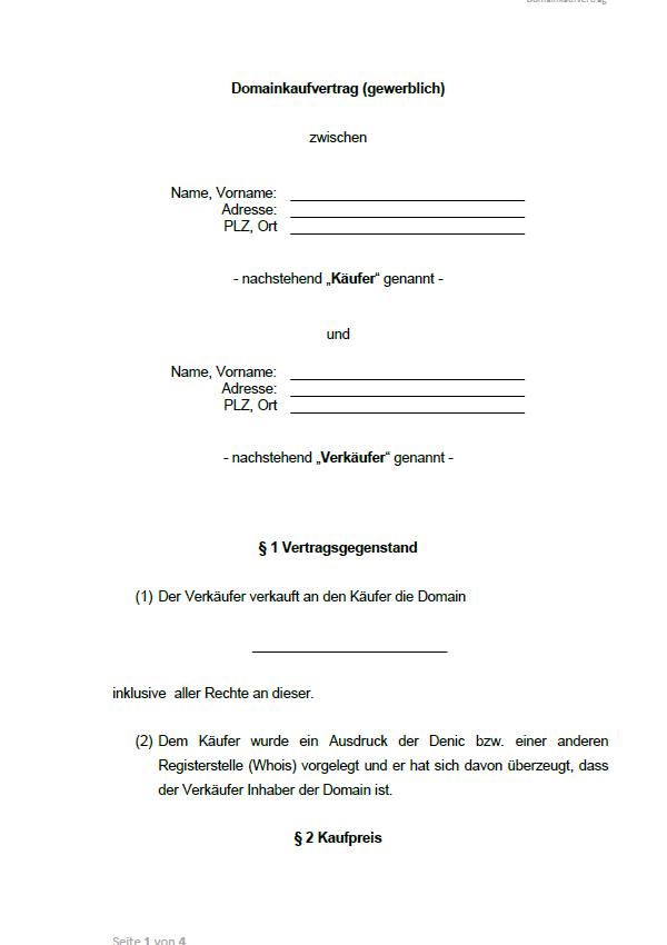Gewerblicher Kaufvertrag für eine Domain