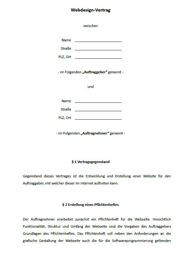 Darstellung exemplarischer Paragraphen, wie zum Beispiel § 1 Vertragsgegenstand und §2 Erstellung eines Pflichtenheftes