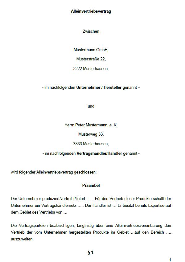 Auszug aus der ersten Seite des Vertrags