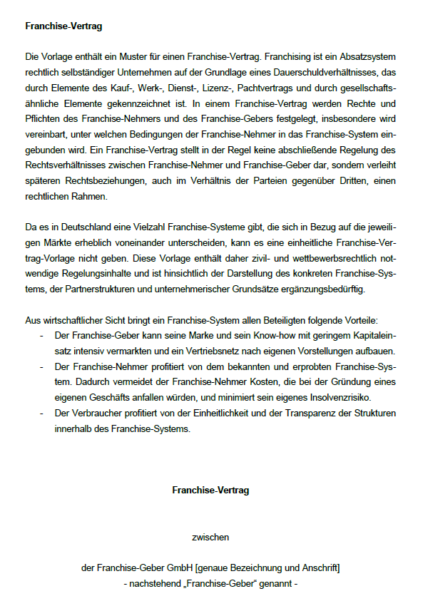 Beispielhafte Seite aus dem Franchisevertrag mit allen nötigen allgemeinen Informationen zum Vertrag
