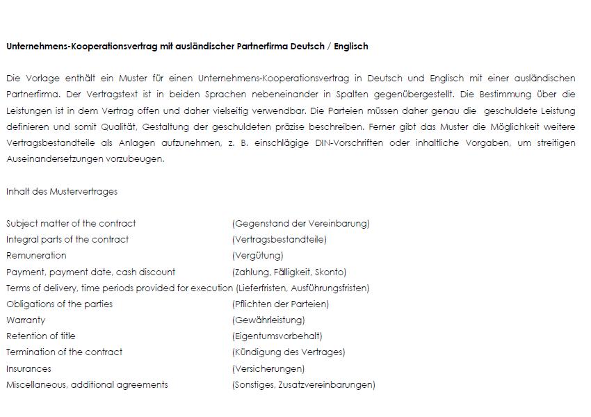 Einblick in die Unternehmens-Kooperation mit einer ausländischen Partnerfirma auf Englisch und Deutsch