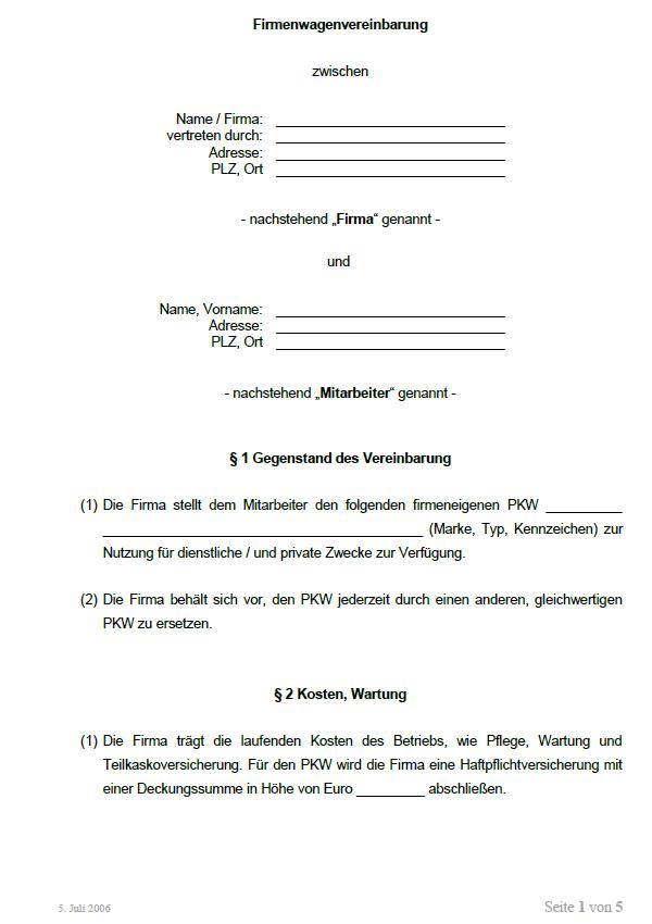 Beispiel für eine mögliche Seite aus einer weiteren Vereinbarung