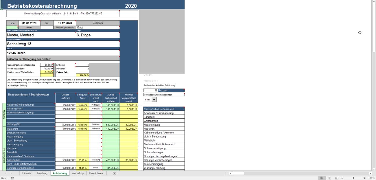 Betriebskosten Deluxe Excel Tool