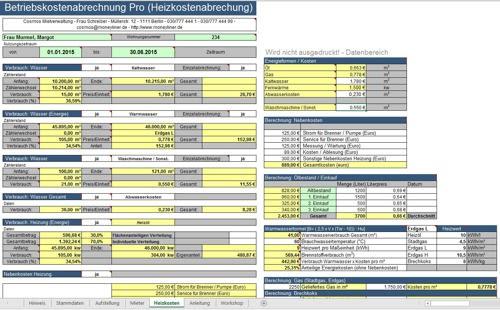 Betriebskostenabrechnung in Excel mit Tool zum Abrechnen der Heizkosten