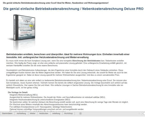Screenshot der Einleitung zum Betriebskostenabrechner Excel Tool
