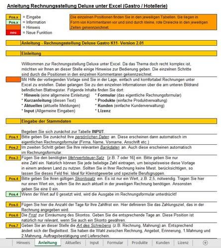 Hier sehen Sie die Anleitung Rechnungsstellung Deluxe unter Excel (Gastro / Hotellerie)