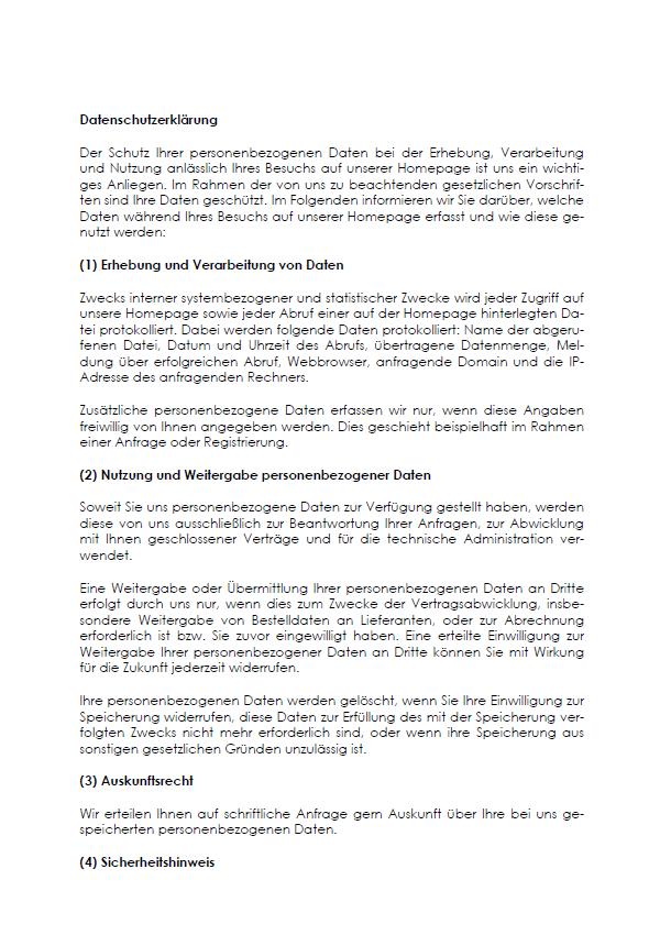 Auszug aus der ersten Seite der Datenschutzerklärung