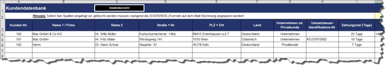 Rechnungsgeneratro - Exemplarische Tabelle aus dem Excel-Tool