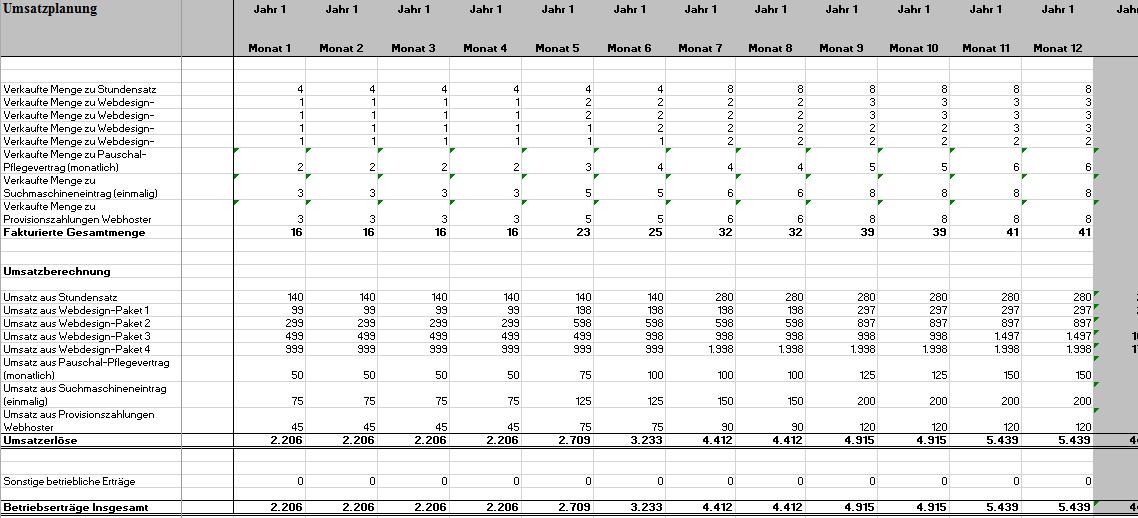 Darstellung der Excel-Datei