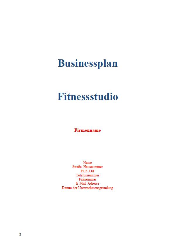 Hier sehen Sie das Deckblatt des Businessplans.