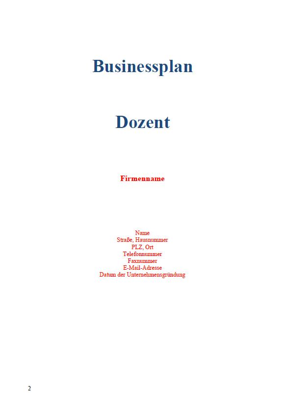 Die erste Seite des Businessplan.