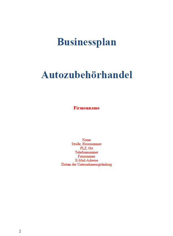 So könnte Ihr Deckblatt Ihres Businessplans aussehen.