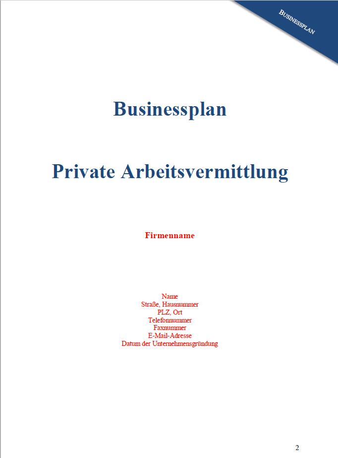 Erste Seite des Businessplan Private Arbeitsvermittlung