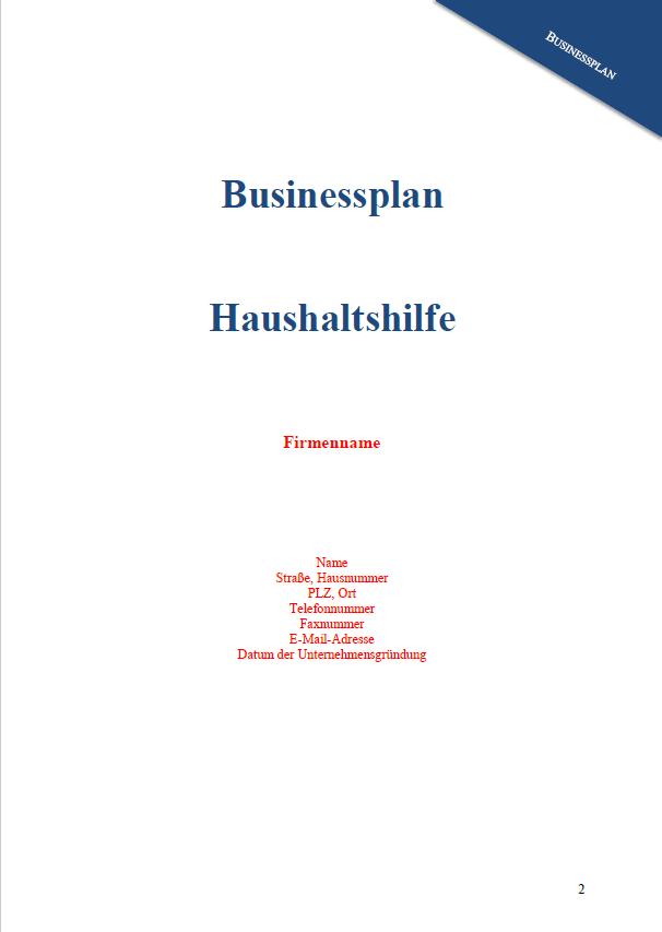 Erste Seite des Businessplans Haushaltshilfe