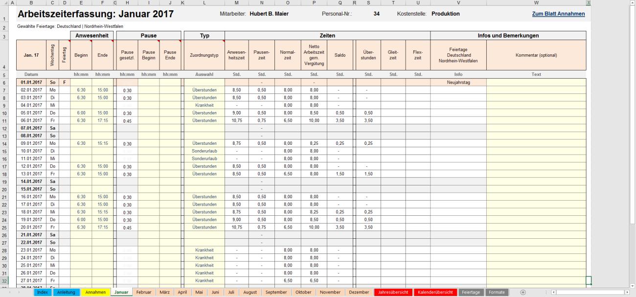 Excel-Matrix Monat Januar Übersicht