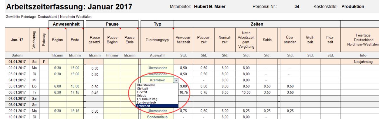 Excel-Matrix Monat Januar. Dropdown-Auswahl über Krankheit, Gleitzeit, Überstunden, Flexzeit, Urlaub, Sonderurlaub