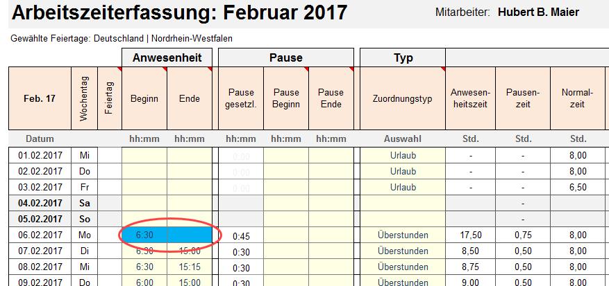 Excel-Matrix Monat Februar. Ansicht Zeiteingabe