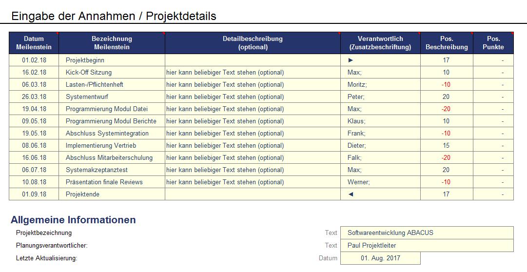 Annahmen/Projektdetails als Übersicht