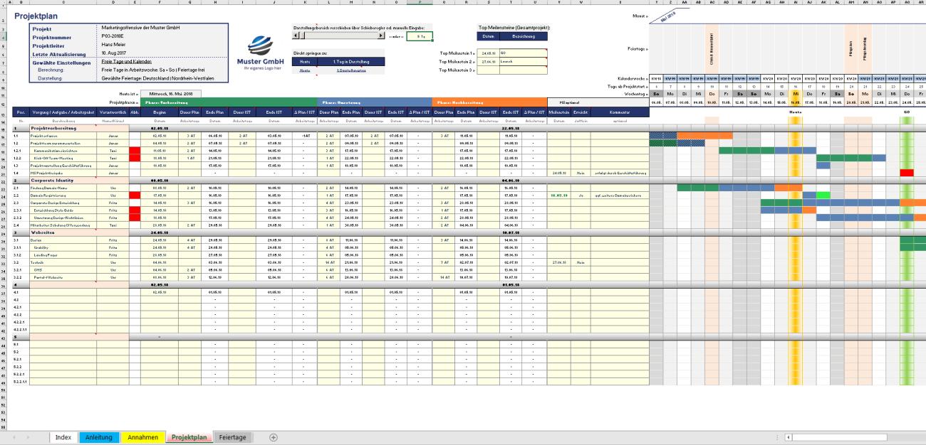 Projektplan - Excel-Matrix