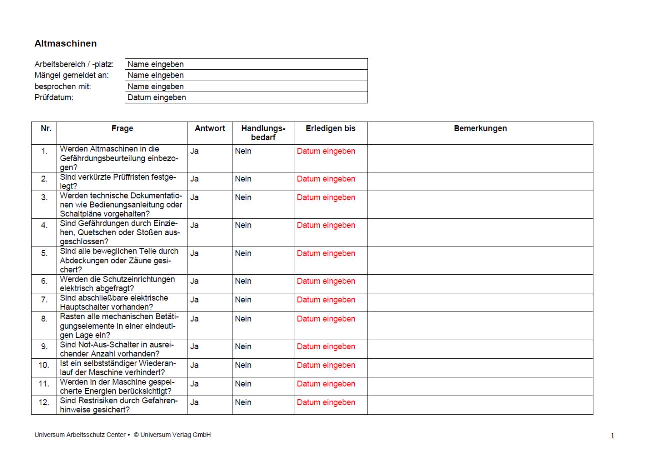 Erste Seite der Checkliste Altmaschine.