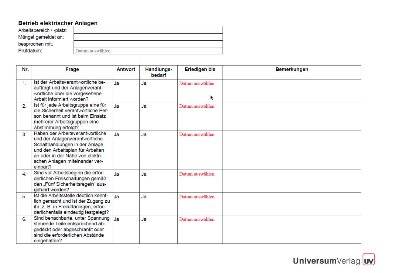 Erste Seite der Checkliste elektrische Anlagen.