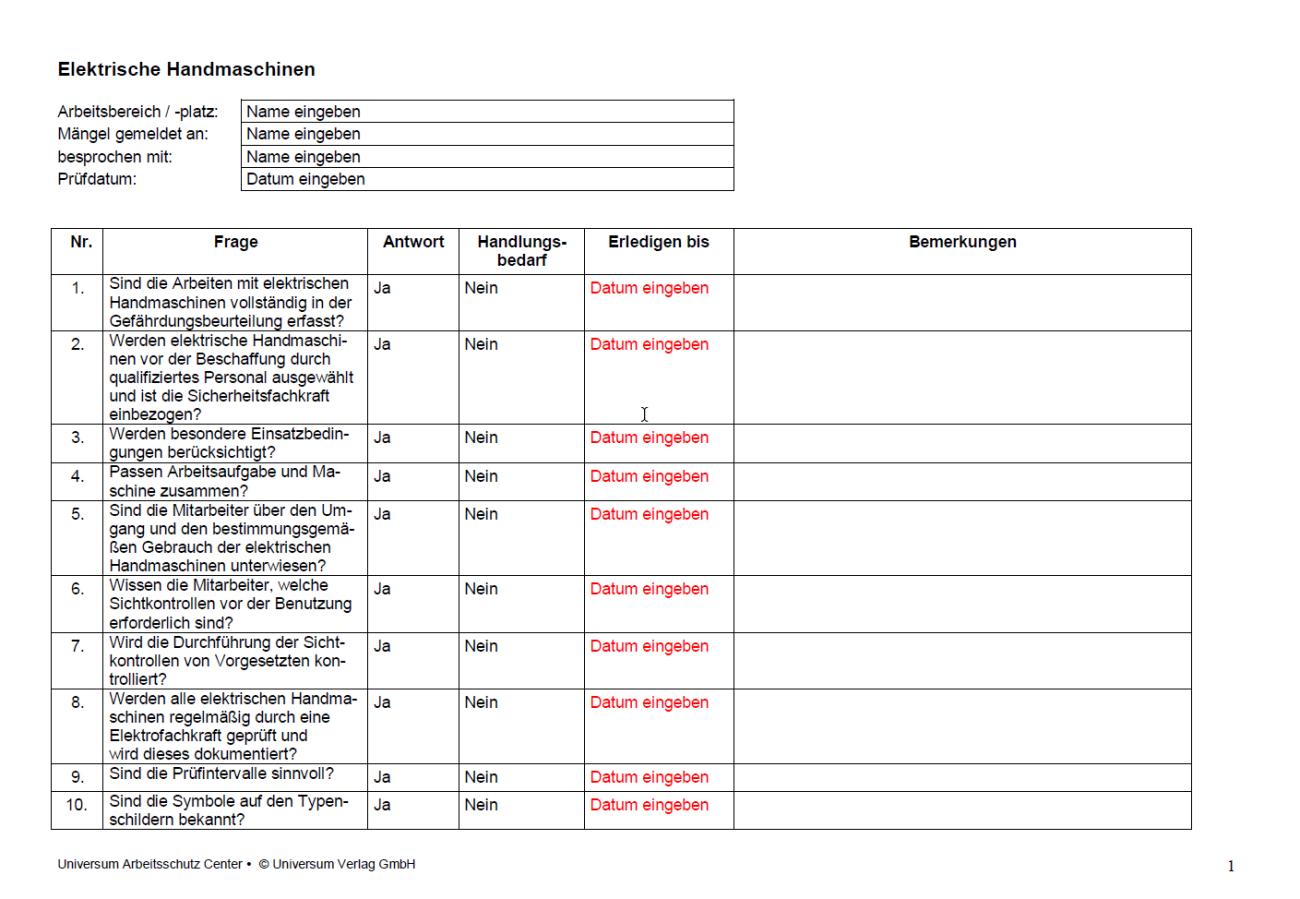 Erste Seite der Checkliste elektrische Handmaschinen.