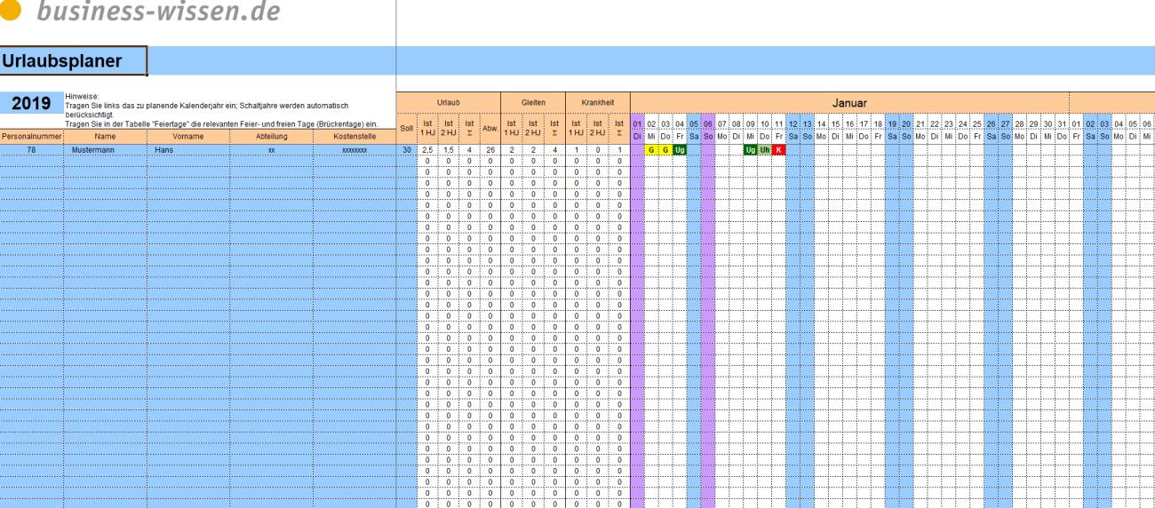 Vorschau Excel Urlaubsplaner