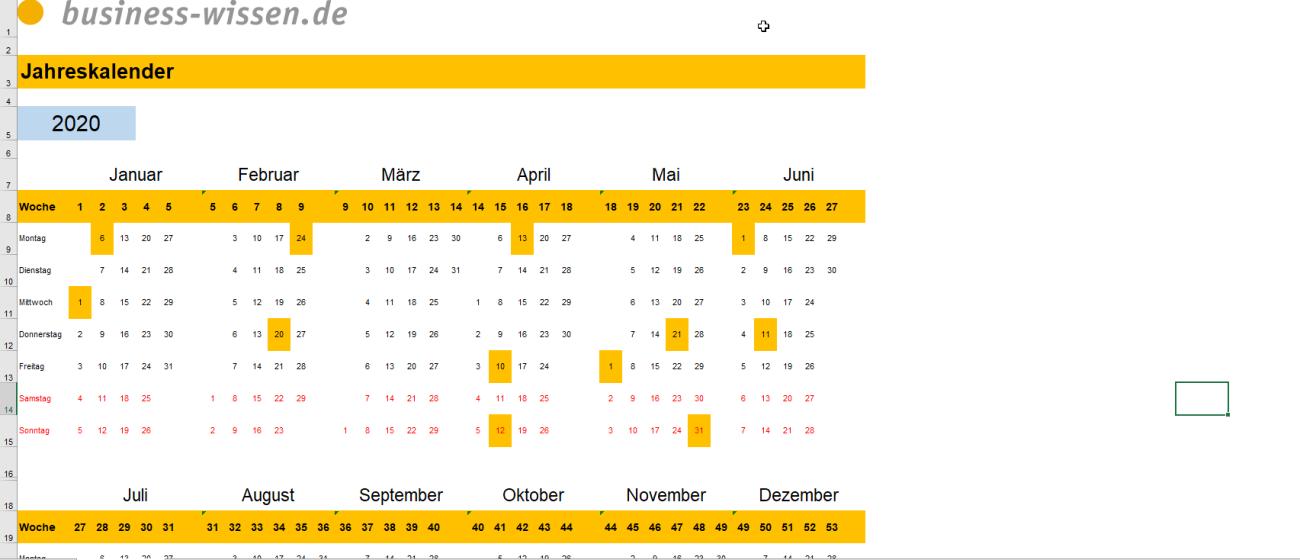 Vorschau des Jahreskalenders 2020 2