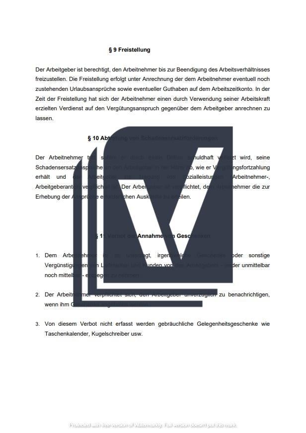 Arbeitsvertrag befristet Einblick in das Muster