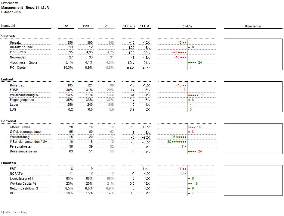Ausschnitt aus dem Excel-Tool Management Report
