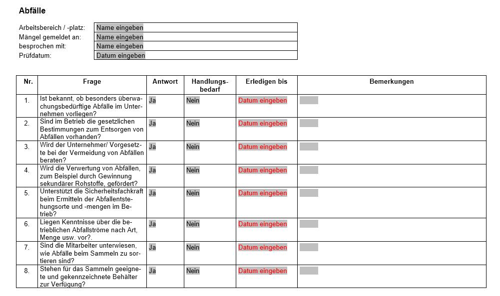 Vorschau der Checkliste zur richtigen Entsorgung von Abfällen