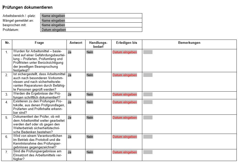 Vorschau der Checkliste zur richtigen Dokumentation von Prüfungen