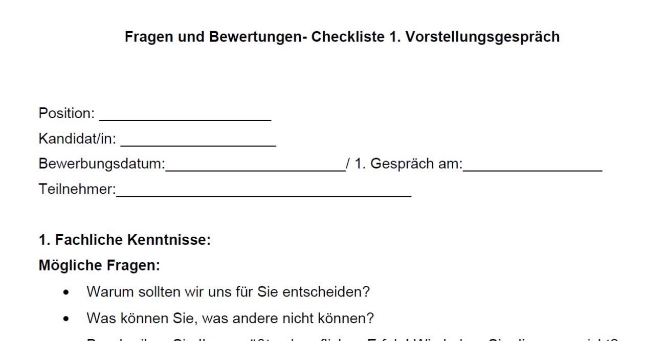 Vorschau für die Checkliste Frageun und Bewertungen