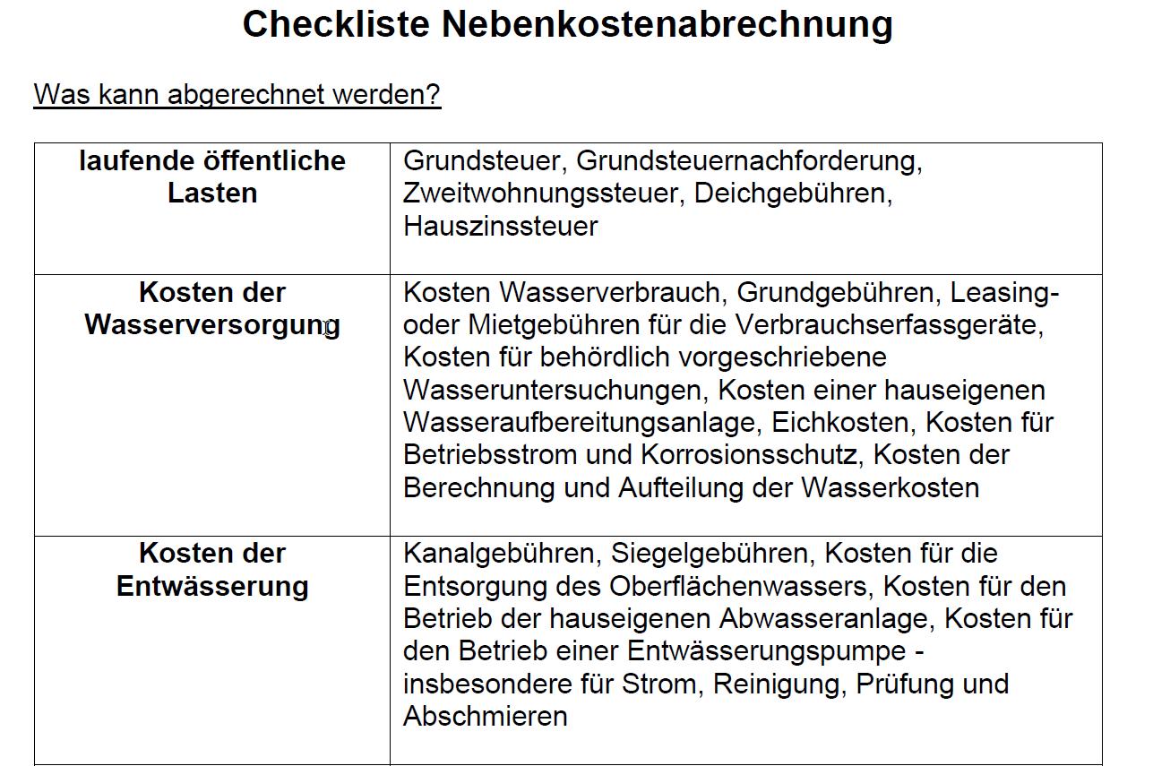Vorschau für die Checkliste zum Thema Nebenkostenabrechnung