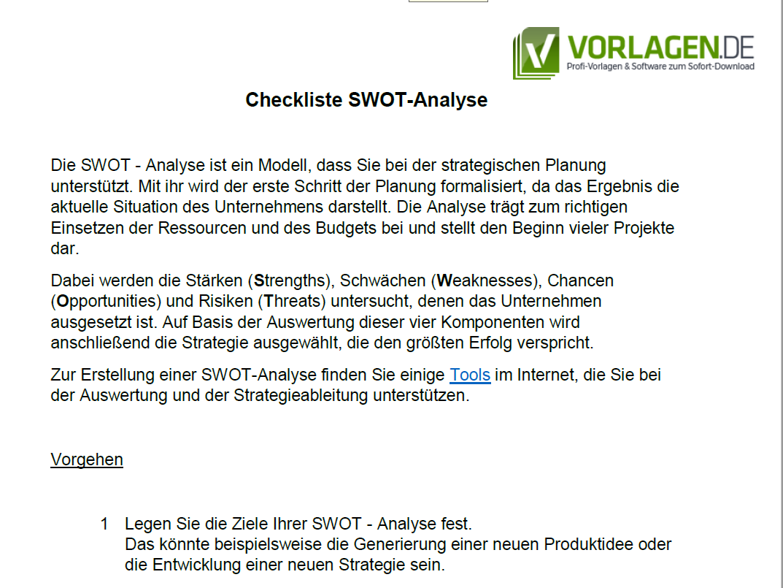 Vorschau für die Checkliste SWOT Analyse