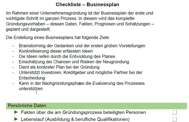 Vorschau für die Checkliste Businessplan