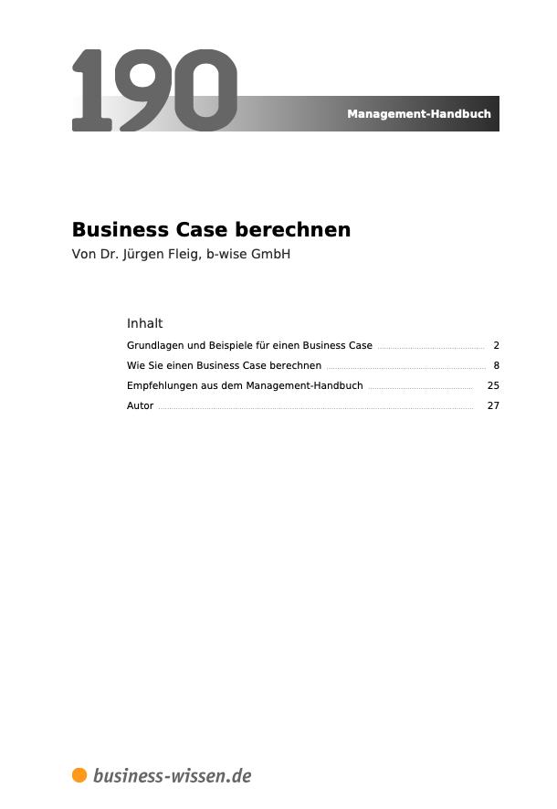Business Case berechnen Inhalt