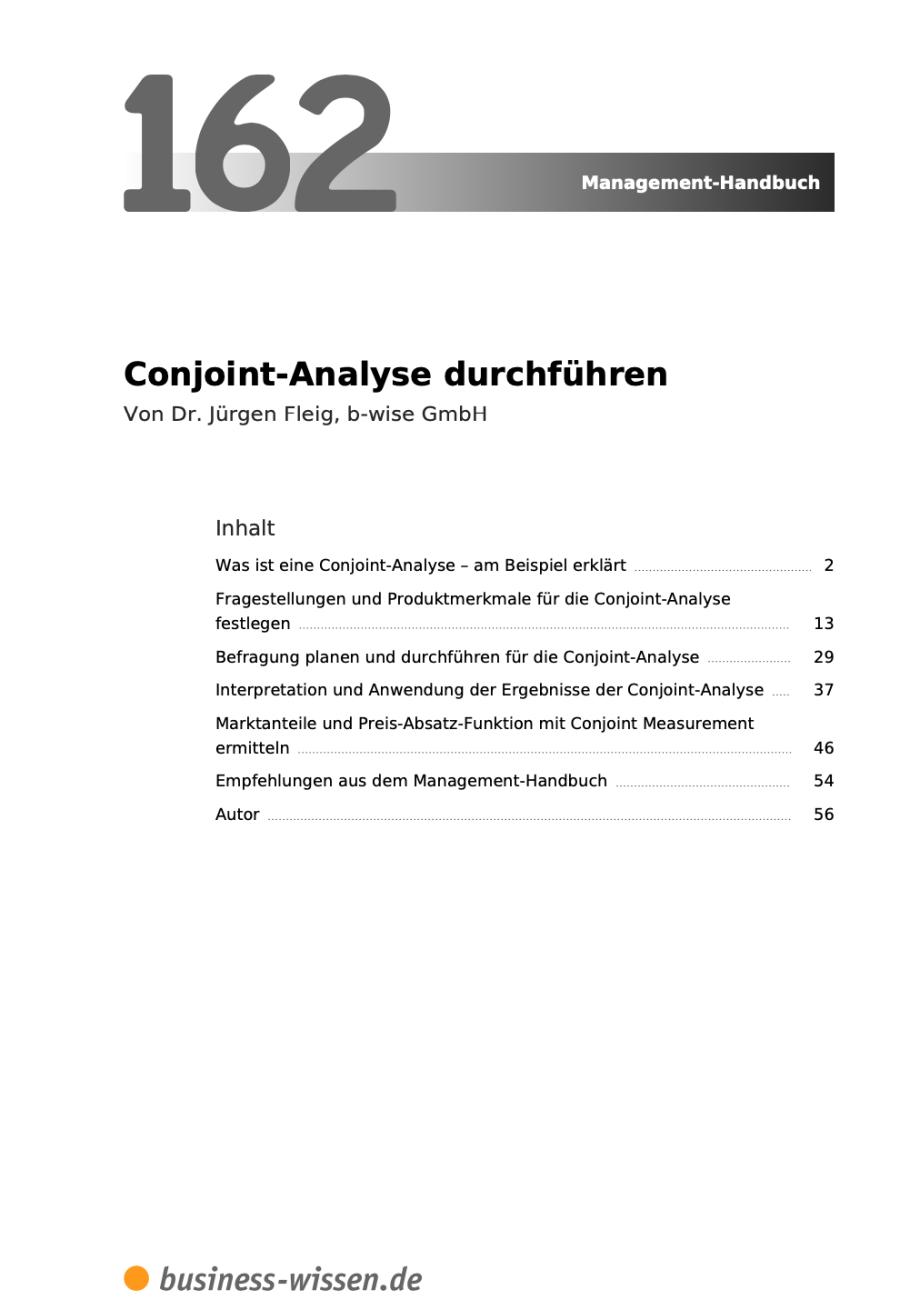 Conjoint Analyse Inhalt