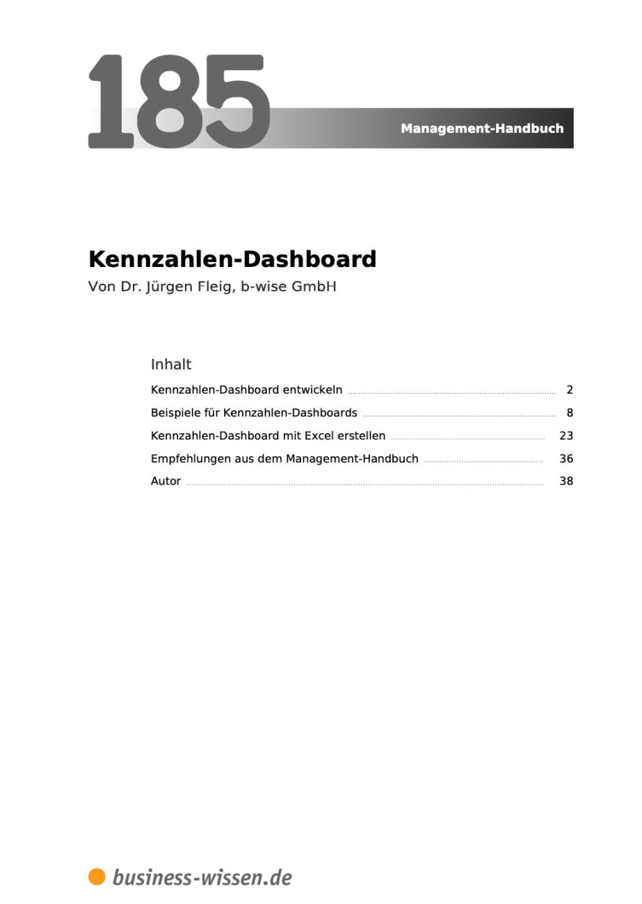 Kennzahlen Dashboard Inhalt