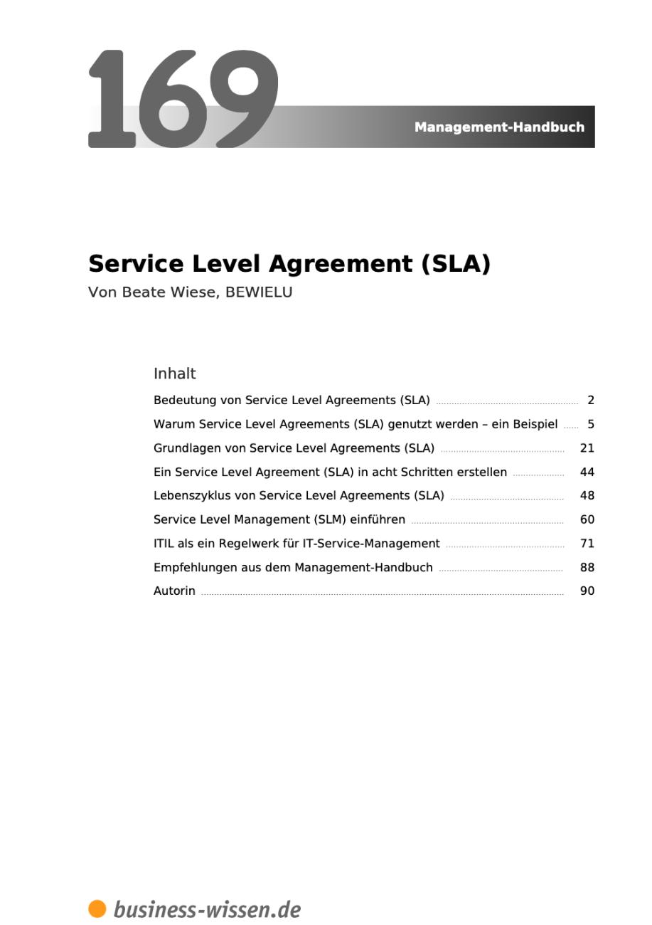 Service Level Agreement Inhalt
