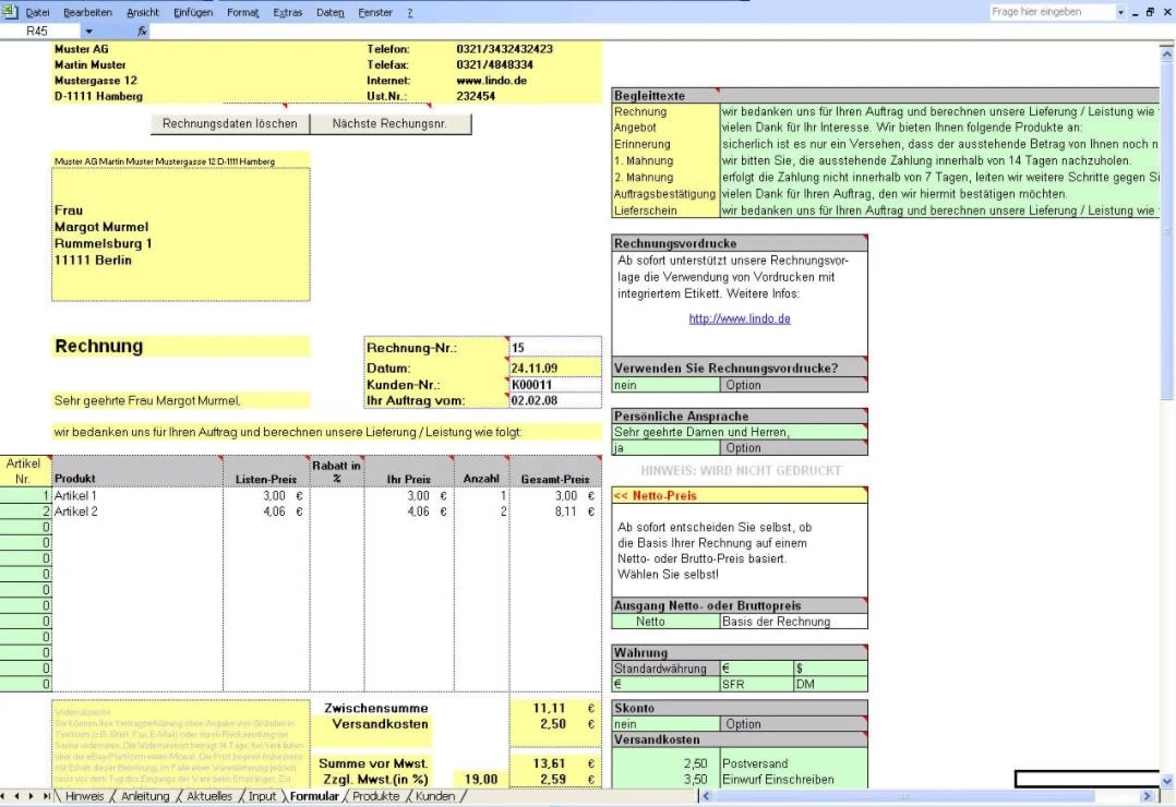 Rechnungserstellung in Excel