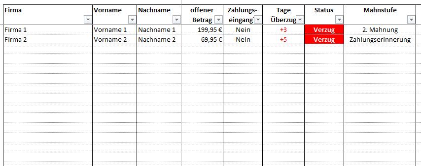 Mahnungen Verwalten in Excel
