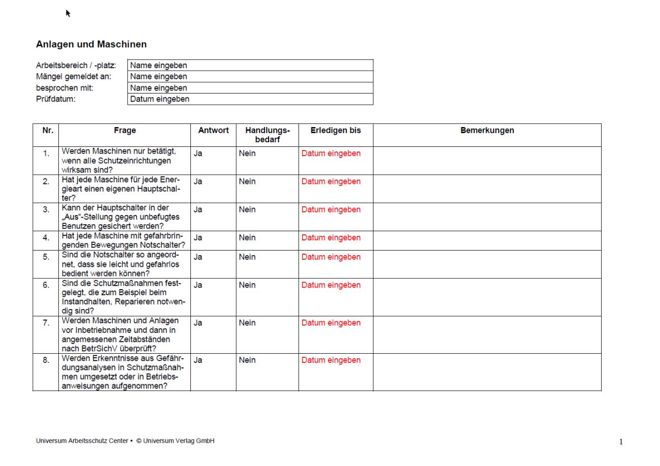 Erste Seite der Checkliste Anlagen Maschinen.