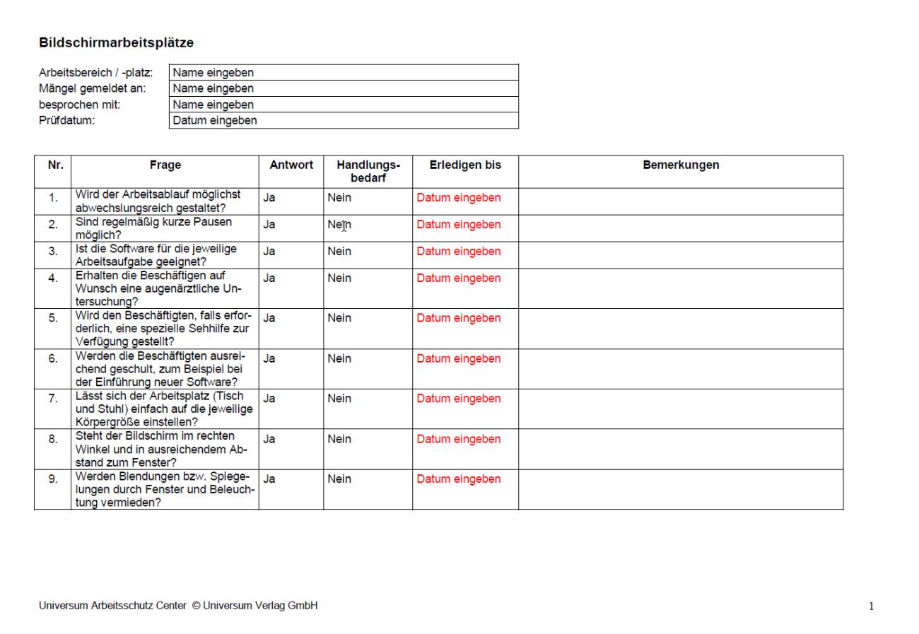 Erste Seite der Checkliste Bildschirmarbeitsplätze.