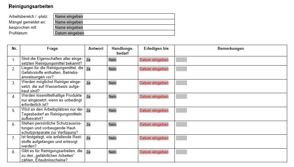Vorschau der Checkliste für Reinigungsarbeiten