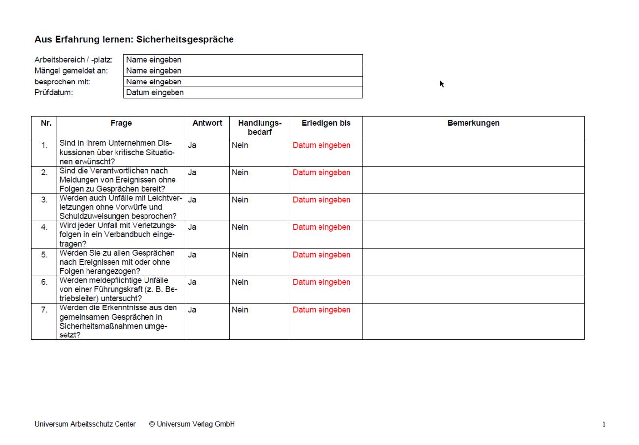 Erste Seite der Checkliste Sicherheitsgespräche.