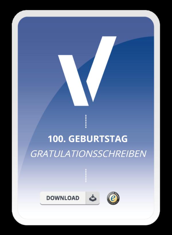 Gratulationsschreiben zum 100. Geburtstag