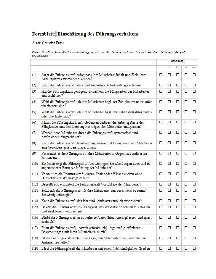 Vorschau Checkliste zur Bewertung der Mitarbeiterführung